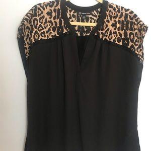 INC INTERNATIONAL CONCEPTS Leopard/ black blouse